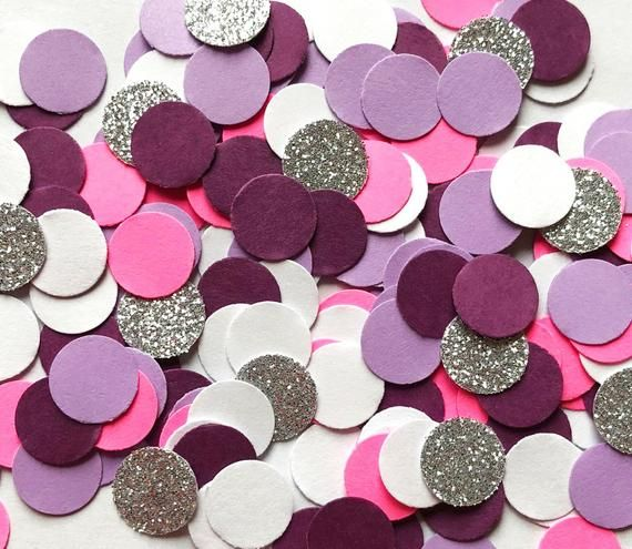 Table Scatter Pink and Silver Confetti Pink and Silver Party Round Baby Shower Confetti Bridal Shower Confetti Silver Glitter Confetti