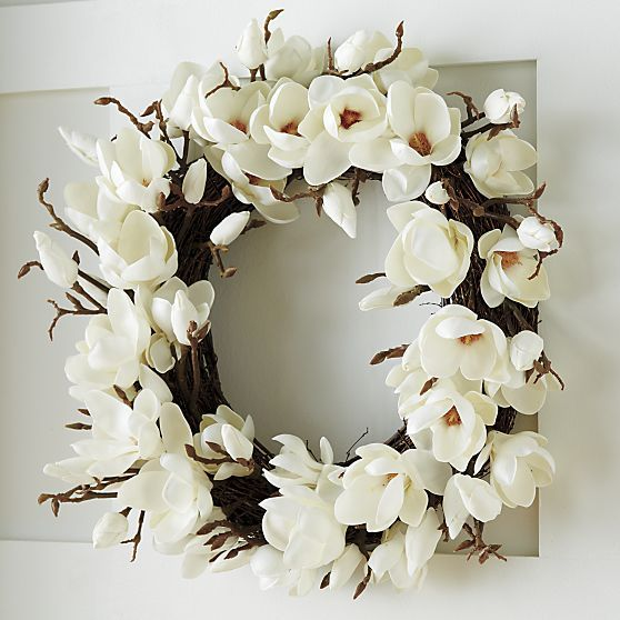 Magnolia Artificial Flower Wreath in Botanicals & Plants | Crate and Barrel