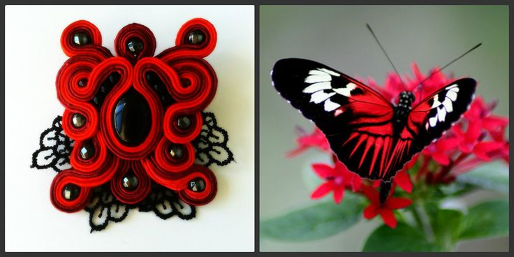 Soutache  red butterfly brooch