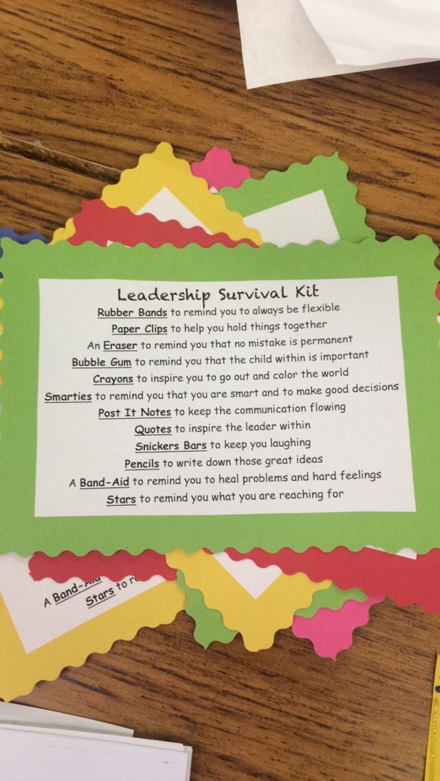 Leadership Survival Kit! I gave these to my students during officer training!