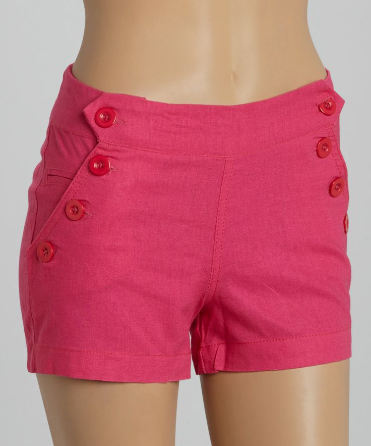 Pink Button Accent Shorts   something special every day
