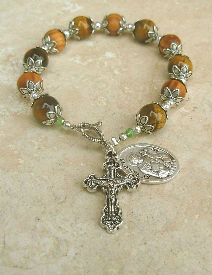 Jerusalem Olive Wood Tigers Eye St Francis of Asisi Silver Rosary Bracelet
