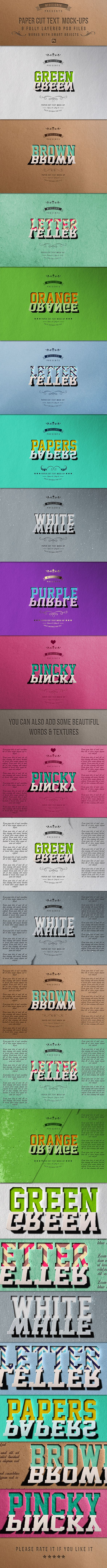 Paper Cut Text MockUps — Layered PSD #add-on #asl • Download ➝ https://graphicriver.net/item/paper-cut-text-mockups/19009260?ref=pxcr