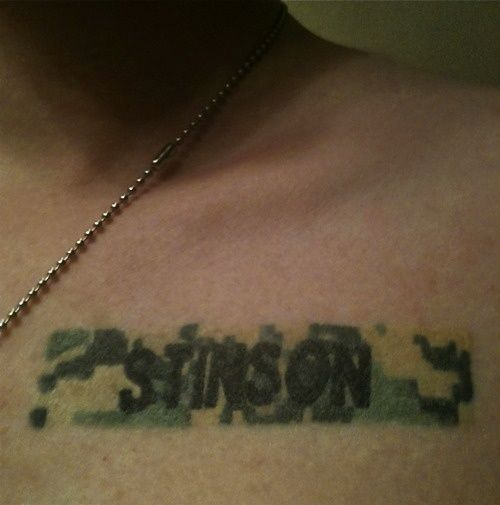 """""""I got this Tattoo after my twin brother died. He committed suicide after three tours in the Middle East with the US Army. I had his name badge tattooed right where I put my hand over my heart for the Pledge of Allegiance. Every pledge is a tribute to his service and sacrifice."""" AMAZING"""