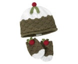 christmas pudding Hat & Mitts