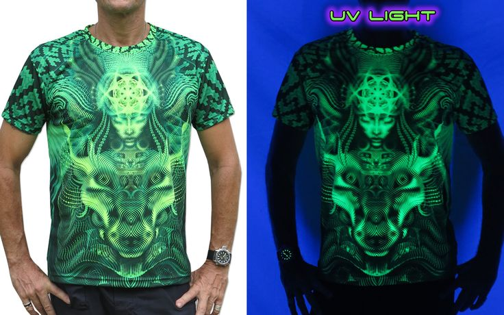 """UV Sublime S/S T : Lime Foxy Fully printed short sleeve T shirt. This shirt is an """"All Over"""" printed T shirt that will really grab people's attention. Printed using sublimation printing on a high quality UV Yellow polyester / Dri-Fit blended shirt. This allows for extremely vibrant colors that will never fade away no matter how many times it gets washed, & results in an extremely soft """"feel"""" to the shirt for ultimate comfort. UV active - Glows under black light ! Artwork by Luke Brown"""