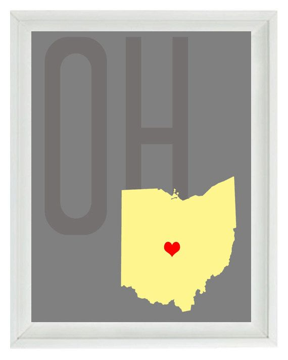 Ohio Map Art Print  Custom Personalized Gray by RizzleandRugee, $15.00-one for ohio and one for indiana in nolan's room :)