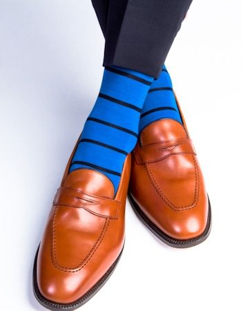 Dapper Classics Royal Blue with Navy Stripe Sock