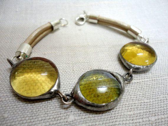 Honey Yellow Glass Bead Bracelet // Stained Glass Bracelet // Tiffany Glass