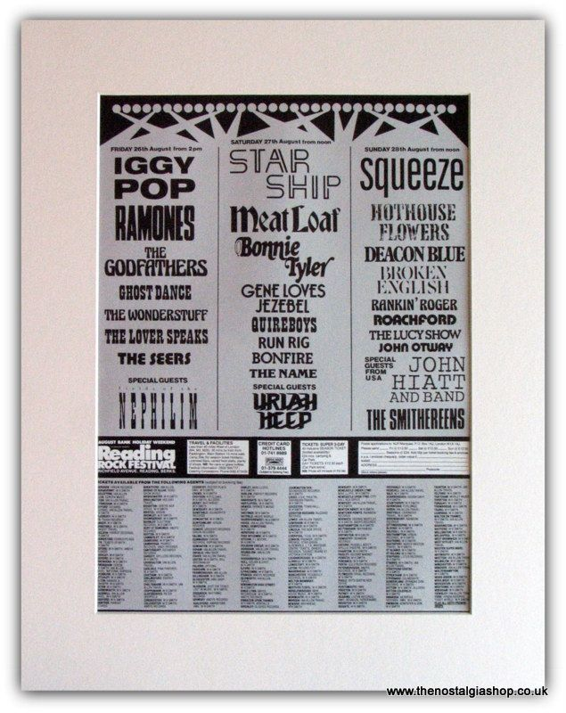 vintage musician ads | Reading Festival 1988 Advert. Iggy Pop, Meatloaf, Ramones. (ref Ad1827 ...