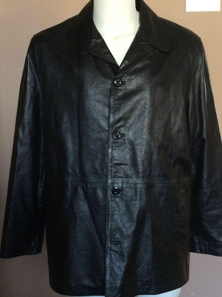 Leather Jacket Men 3/4 Length Men Size Large 100% Genuine Leather