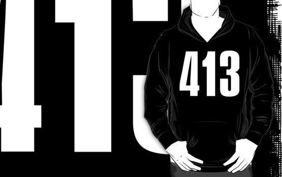 413 Massachusetts [White Ink] | Phone Area Code Shirts by FreshThreadShop