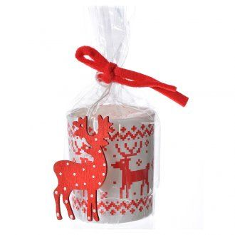 Christmas candle in glass, assorted red white | online sales on HOLYART.co.uk