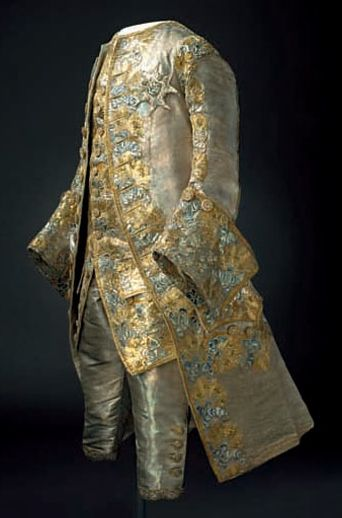 one kind of cloth for coat, another for cuffs and turnbacks. 18th-century-court-costume-man-suit
