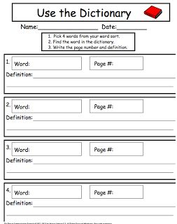 Dictionary worksheet for spelling words