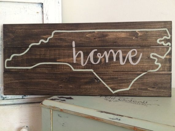 Home State stained distressed wooden pallet sign NC