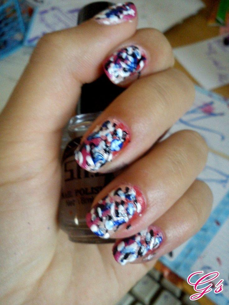 easy graffiti nails. :) (2012) #nails #nail #Gs #graffiti