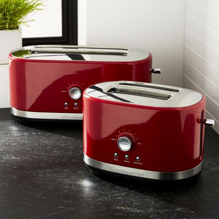 Shop KitchenAid ® Red Toasters.  High-performance and durability define this all-metal modern toaster with that signature KitchenAid style and engineering.  Updated with an oval design, this sleek red addition to the countertop offers extra wide 1.