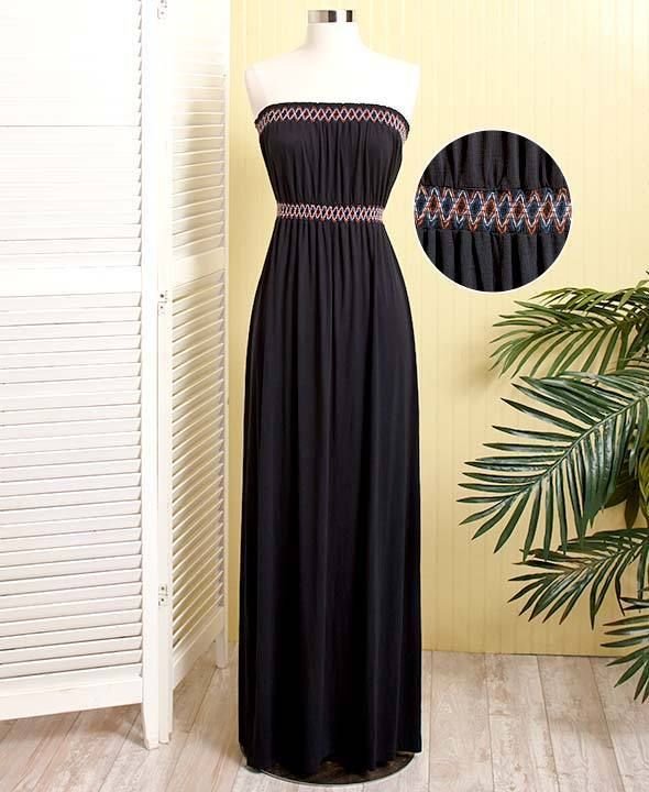 Contrast Stitch Strapless Maxi Dress - Black Long Dress - Woman's Summer Dress #BlackDress #StraplessMaxi #CasualFormal #TubeTopDress Contrast Stitch #StraplessDress #MaxiDress #LongBlackDress #SummerDress #JoSam1129