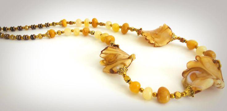 NECKLACE. Beautiful Handmade MURANO Glass Elements.  JADE Stone Freeform Beads. by GECHELINE on Etsy