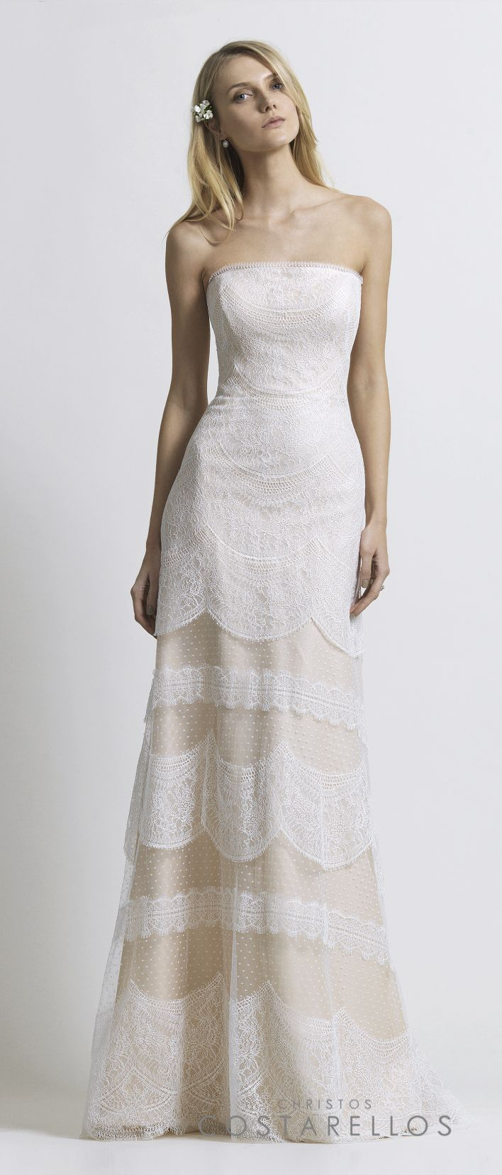 Christos Costarellos Bridal 2014 collection. A wedding dress with chantilly lace on silk organza base. Code: BR14 13. For stockists please visit www.costarellos.com #christoscostarellos #costarellos #costarellosbride #bridaldress #bridalgown #weddingdress #weddinggown #lace #bridetobe #bridalmarket #bridalfashion #wedding