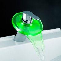 Купить смеситель-водопад для раковины с LED-подсветкой | Кран для раковины однорычажный с подсветкой водопад