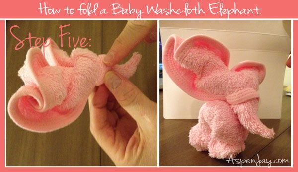 washcloth elephant (5 steps) :: diaper cake topper