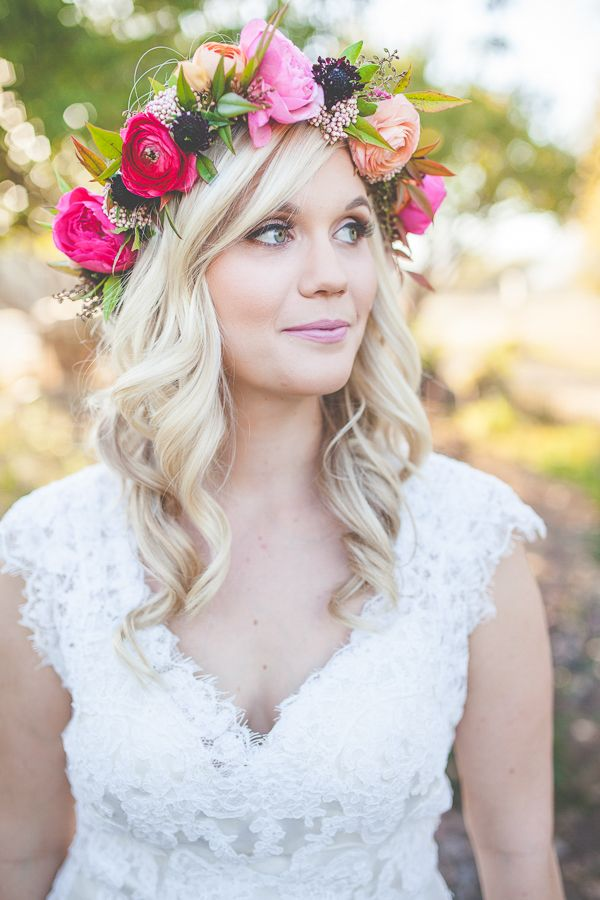 wedding hair with floral halo