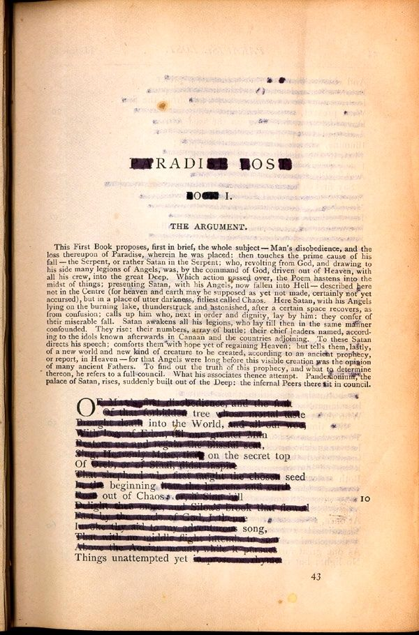Ronald Johnson's copy of The PoeticalWorks of John Milton, 1892, which he used to create his Radi os.
