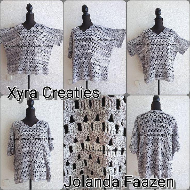 #PATR1109 #trui #shirt #top #sweater #haakpatroon #patroon #haken #gehaakt #crochet #pattern #DIY #sleeves #mouwen #mouw #sleeve  Patroon (NL) is beschikbaar via: Pattern (English-US) is available at: www.xyracreaties.nl  www.ravelry.com/stores/xyra-creaties  www.etsy.com/shop/XyraCreaties