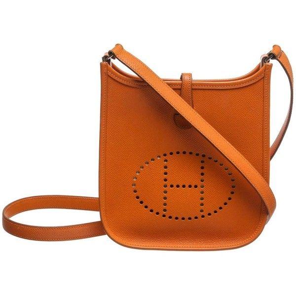 hermes orange leather handbag evelyne