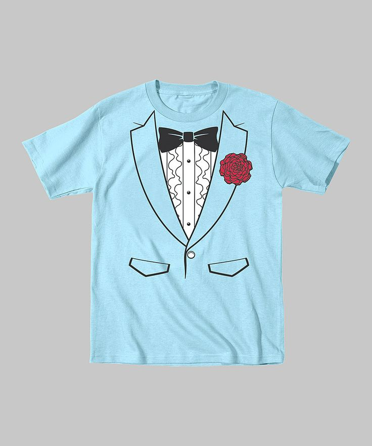 Take a look at this Light Blue Seventies Tuxedo Tee - Toddler & Boys on zulily today!