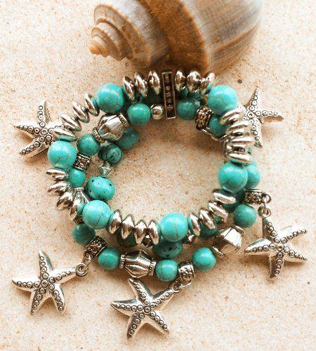 "Coastal Jewelry - ""Turquoise Waters"" Triple Strand Starfish Stretch Bracelet Kensington Row Coastal Collection http://www.amazon.com/dp/B00J123DDO/ref=cm_sw_r_pi_dp_D.Csub0F6F5BD"