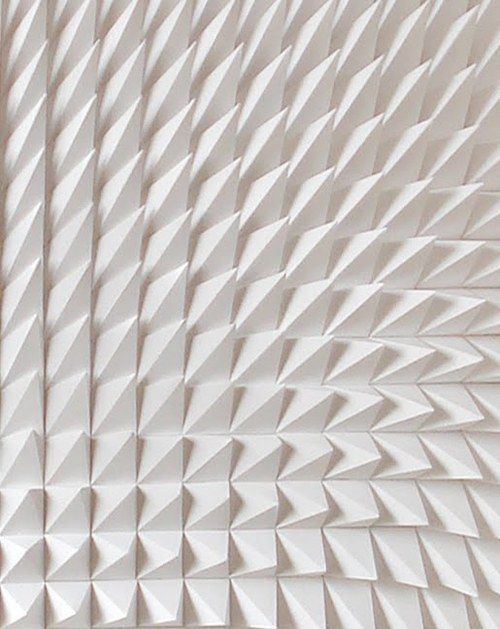 Recursive, white sculpture, detail _ by Matt Shlian _  Texture - shape - white - peak