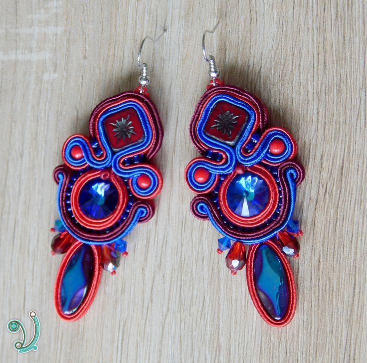 Soutache earrings , Swarovski jewelry , Red earrings , Boho chic jewelry , OOAK jewelry by Vikisoutache on Etsy