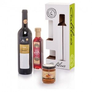 Galilee's All Natural Gift Box with Wine and Honey - Set of 3 | Kosher Gift Baskets