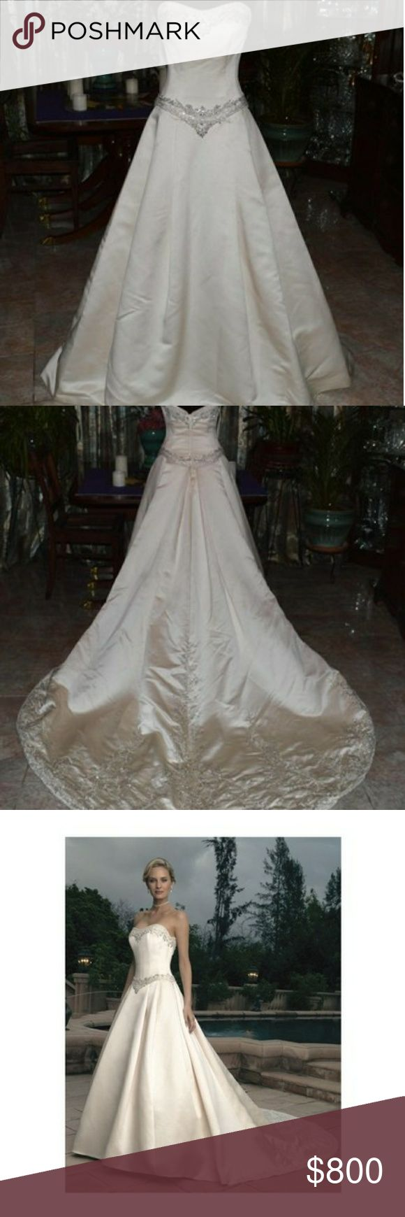 Casablanca Bridal Gown 1802 gorgeous gown, clean and unaltered from a closed bridal shop. Dr Ivory ballgown with crystals on sweetheart neckline and on dropped waist Casablanca Dresses Wedding