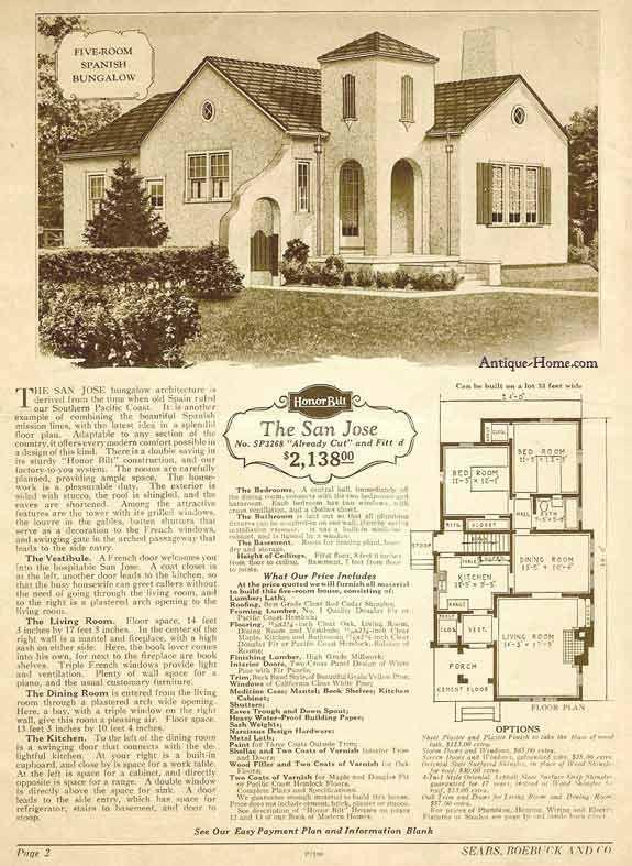 San Jose Model California Style Stucco 1928 Sears