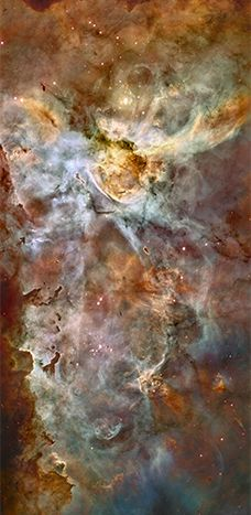 The Carina Nebula - The Carina Nebula is a 3-million-year-old cloud of gas that is a star-making factory, churning out tens of thousands of stars. The fairytale landscape includes several stars that are among the hottest and most massive known. Each star is about 10 times as hot and 100 times as massive as our Sun