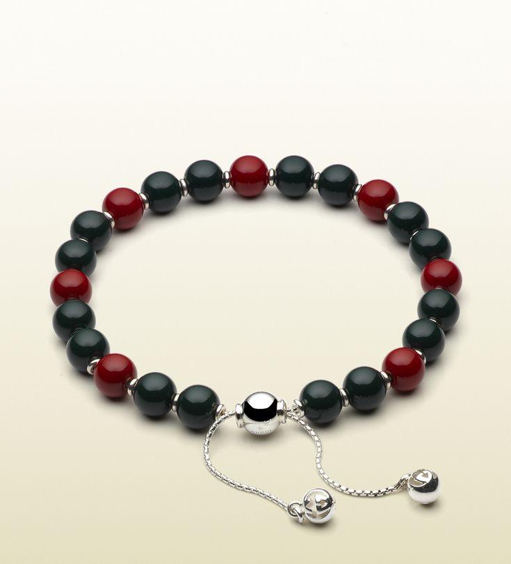 Gucci - bracciale con perline in legno rosse e verdi 310541J89K68518