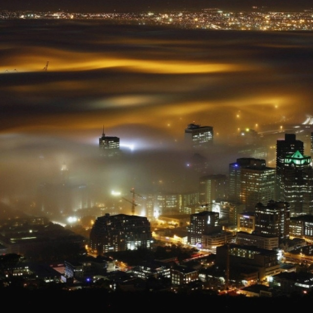 Cape Town South Africa at night.