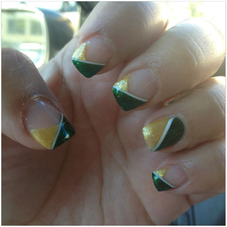 Green Bay packer nail art...cute idea but I would use blue white and silver for Dallas Cowboys
