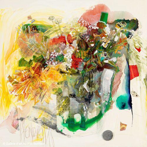Maryann Hendriks, 'The World Is Talking Now', 36'' x 36''   Galerie d'art - Au P'tit Bonheur - Art Gallery