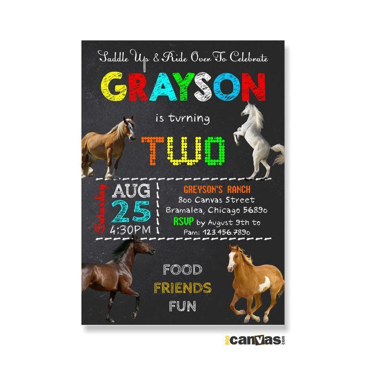 Horse Birthday Invitation, Horse Party Invitation, Horse Party Theme, Boy's Girl's Birthday, Animal Birthday Invite, Cowboy Chalkboard 333 by 800Canvas on Etsy