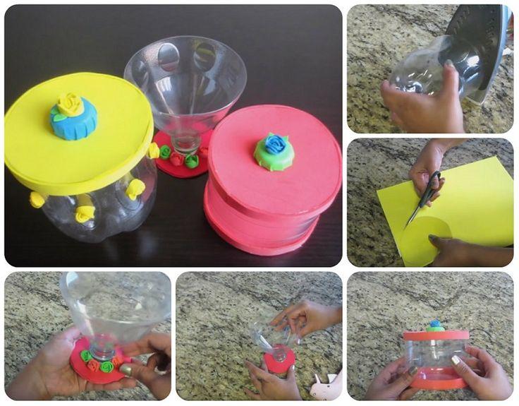 Idea creativa per il riciclo delle bottiglie.