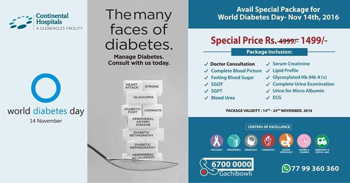 Avail special package for #WorldDiabetesDay @ Continental Hospitals at an #offer price of Rs.1499/- only. Package valid till 24th Nov. #Diabetes