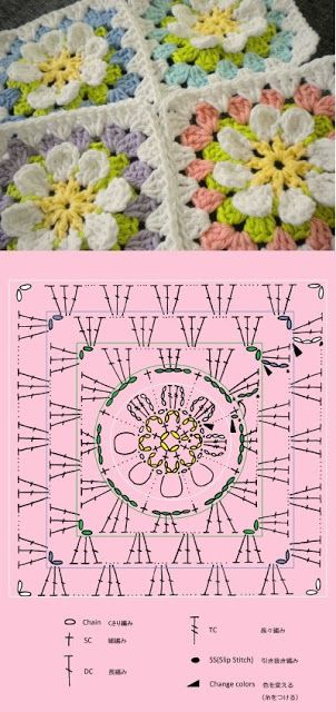 Crochet Square Motif Collection - Free Crochet Diagrams…                                                                                                                                                                                 Más