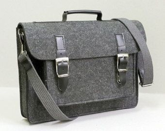 Dark felt Macbook briefcase