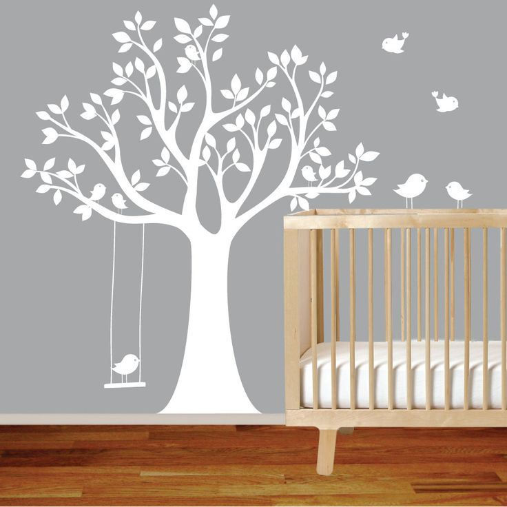 Vinyl Wall Decal Stickers Bird White Tree Set Nursery Wall Sticker With  Swing. $99.00,