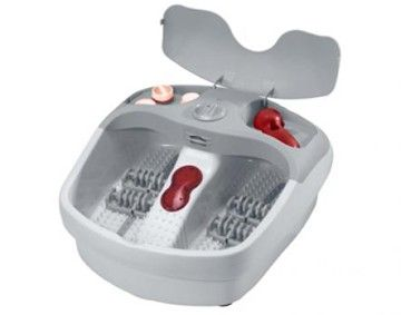 Features/Specifications Product code: RHFM30 Acupressure massage rollers Multi-purpose pedicure set with 4 attachments Infrared massage Aroma diffuser Nail dryer 3 Massage settings Splash guard Relief for tired aching feet